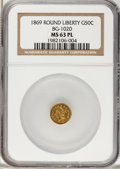 California Fractional Gold: , 1869 50C Liberty Round 50 Cents, BG-1020, Low R.4, MS63 ProoflikeNGC. NGC Census: (2/0). (#710849...