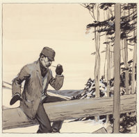 EDWARD HOPPER (American, 1882-1967) Man on Log, circa 1906-1914 Watercolor and ink on illustration b