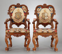 A PAIR OF GEORGE IV CARVED OAK UPHOLSTERED ARMCHAIRS J. Williamson, London, England, circa 1828 Marks: stamped