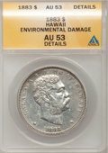Coins of Hawaii: , 1883 $1 Hawaii Dollar--Environmental Damage--ANACS. AU53 Details.NGC Census: (12/136). PCGS Population (25/155). Mintage: ...