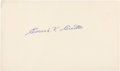 Baseball Collectibles:Others, Eddie Cicotte Signed Index Card....