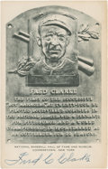 Baseball Collectibles:Others, Fred Clarke Signed Black and White Hall of Fame Plaque Postcard....