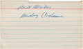 Baseball Collectibles:Others, Mickey Cochrane Signed Index Card....