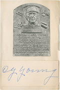 Baseball Collectibles:Others, Cy Young Signed Cut Signature....