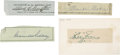 Baseball Collectibles:Others, Baseball Hall of Famers Cut Signatures Lot of 4....