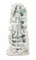 Asian:Chinese, A Chinese Carved Jade Group. Unknown maker, Chinese. Twentiethcentury. Jade. Unmarked. 14-1/2 x 6-1/4 inches (34.3 x 15.9...