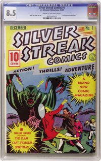 Silver Streak Comics #1 (Lev Gleason, 1939) CGC VF+ 8.5 Cream to off-white pages. Here's the first comic book by the com...