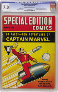 Special Edition Comics #1 (Fawcett, 1940) CGC FN/VF 7.0 Cream to off-white pages. This wasn't just the first comic book...