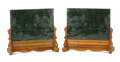 Paintings, A Pair of Chinese Moss Green Jade, Carved Table Screens. Unknown maker, Chinese. 19th/20th century. Jade, wood. Unmark... (Total: 2 Items)