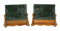 A Pair of Chinese Moss Green Jade, Carved Table Screens Unknown maker, Chinese19th/20th century
