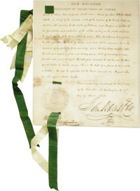 Remarkable Sam Houston Document Signed