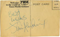 Music Memorabilia:Autographs and Signed Items, Jimi Hendrix Autographed Postcard. A large charismatic Jimi Hendrixautograph in blue ink on the back of a Trans World Airli... (Total:1 Item)