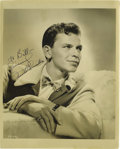 "Music Memorabilia:Autographs and Signed Items, Frank Sinatra Signed Photo. A great b&w 8"" x 10"" photo of ayoung Sinatra in profile, inscribed and signed by him in black i...(Total: 1 Item)"
