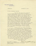 """Autographs:U.S. Presidents, Warren G. Harding Typed Letter Signed """"Warren G. Harding"""" as President, one full page, 7"""" x 8.75"""". The White House, ..."""