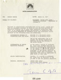 """Movie/TV Memorabilia:Autographs and Signed Items, Truman Capote Signed """"Breakfast at Tiffany's"""" TV Pilot Agreement. A two-page agreement on Paramount letterhead, dated March ... (Total: 1 Item)"""