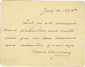 "Autographs:U.S. Presidents, Grover Cleveland Autograph Note Signed in full as President. One page, 4.25"" x 3.5"", (no place), July 4, 1895, in honor of t..."