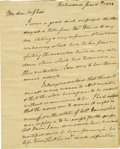 "Autographs:Statesmen, John Marshall Autograph Letter Signed as Chief Justice, ""J.Marshall"". Two pages, 6.25"" x 7.75"", Richmond, June 25, 1823..."