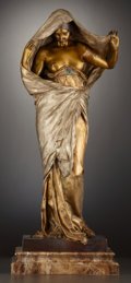 Fine Art - Sculpture, European:Antique (Pre 1900), A FRENCH PATINATED, SILVERED AND GILT BRONZE FIGURE: NATUREUNVEILING HERSELF BEFORE SCIENCE . Louis-Ernest Barrias...