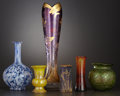 Art Glass:Other , A GROUP OF SIX VARIOUS ART GLASS VASES . Early 20th Century. Marks:assorted signatures. 15-3/4 inches high (40.0 cm). ... (Total: 6Items)