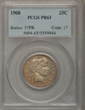 1908 25C PR63 PCGS. PCGS Population (47/108). NGC Census: (23/127). Mintage: 545. Numismedia Wsl. Price for problem free...