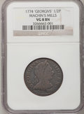 Colonials: , 1774 1/2P Machin's Mills Halfpenny VG8 NGC. NGC Census: (1/3). PCGSPopulation (0/10). (#454)...