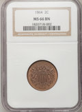 Two Cent Pieces: , 1864 2C Large Motto MS66 Brown NGC. NGC Census: (31/0). PCGSPopulation (2/0). Mintage: 19,847,500. Numismedia Wsl. Price f...