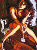 Fine Art - Painting, American:Contemporary   (1950 to present)  , JAMES MICHALOPOULOS (1951-). Woman with Wine Glass. Oil oncanvas. 32 x 24 inches (81.3 x 61.0 cm). Signed lower right: ...