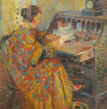 Fine Art - Painting, American:Modern  (1900 1949)  , JOHN HUBBARD RICH (American, 1876-1954). Lady at a Desk. Oilon canvas. 14 x 14 inches (35.6 x 35.6 cm). Signed and date...