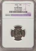 Bust Dimes: , 1825 10C --Obv Stained--NGC Details. VF. JR-1. NGC Census: (1/87).PCGS Population (1/70). Mintage: 410,000. Numismedia Wsl...