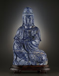 Asian:Chinese, A MONUMENTAL LAPIS LAZULI FIGURE OF GUANYIN. late Qing Dynasty,China, circa 1880-1900. Unmarked. 23-1/2 x 14-3/4 x 7-1/2 ...(Total: 2 Items)