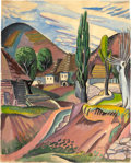 American:Modern, JAN MATULKA (American, 1890-1972). Turi Pole Landscape,circa 1921. Watercolor and conte crayon on paper. 23-1/2 x 19 i...