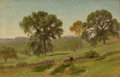 Fine Art - Painting, American:Antique  (Pre 1900), JOHN FREDERICK KENSETT (American, 1816-1872). SummerLandscape, circa 1860s. Oil on paper laid on canvas. 4 x 6inches (...