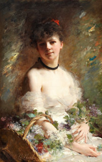CHARLES CHAPLIN (French, 1825-1911) Young Woman with Flower Basket Oil on canvas 38-3/4 x 24-3/4