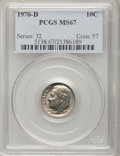 Roosevelt Dimes: , 1970-D 10C MS67 PCGS. PCGS Population (32/1). NGC Census: (19/0).Mintage: 754,942,080. Numismedia Wsl. Price for problem f...