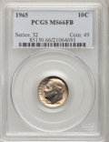 Roosevelt Dimes, 1965 10C MS66 Full Bands PCGS. PCGS Population (69/21). NGC Census:(9/5). Mintage: 1,652,140,544. Numismedia Wsl. Price fo...