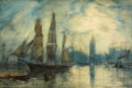 Fine Art - Work on Paper:Watercolor, FRANK MYERS BOGGS (American, 1855-1926). Dunkerque Harbor,France. Watercolor, charcoal and gouache on paper. 10-1/4 x1...