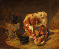 Fine Art - Painting, European:Antique  (Pre 1900), ARTHUR FITZWILLIAM TAIT (American, 1819-1905). Calf andFowls , 1867. Oil on panel. 13-3/4 x 17 inches (34.9 x 43.2cm)...