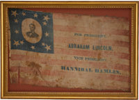 Abraham Lincoln: Supremely Rare and Important Portrait Campaign Flag from 1860