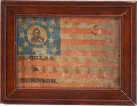 Stephen A. Douglas: Unlisted and Probably Unique 1860 Portrait Campaign Flag