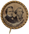 Political:Ferrotypes / Photo Badges (pre-1896), Douglas & Johnson: Key 1860 Uniside Ferrotype Jugate. ...