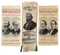 Political:Ribbons & Badges, Hayes & Wheeler and Tilden & Hendricks: Matched Pair of 1876 Jugate Silk Campaign Ribbons and Single Hayes & Wheeler Campaign ... (Total: 3 Items)
