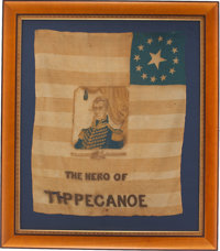 William Henry Harrison: Important and Highly Distinctive Unlisted 1840 Silk Flag Banner