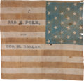 Political:Textile Display (pre-1896), Polk & Dallas: Prohibitively Rare 1844 Campaign Flag Banner....