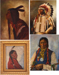 Antiques:Decorative Americana, American Indians: Four Vintage Oil Portraits. ... (Total: 4 Items)