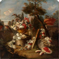 Paintings, Attributed to FRANCESCO LAVAGNA (Italian, 18th Century). Sumptuous Floral and Fruit Still Life in an Extensive Landscape...