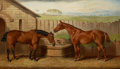 Fine Art - Painting, European:Antique  (Pre 1900), EDWARD LLOYD (British, d. 1891). Two Hunters at a WaterTrough, 1872. Oil on canvas. 21 x 36 inches (53.3 x 91.4 cm).Si...