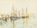 Fine Art - Painting, American:Modern  (1900 1949)  , HAYLEY LEVER (American, 1876-1958). Schooners, Gloucester.Watercolor on board. 14-3/4 x 19-1/4 inches (37.5 x 48.9 cm)...
