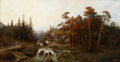 Fine Art - Painting, European:Antique  (Pre 1900), PROPERTY OF A LADY. LEOPOLD GRANINGER (German, 1771-1930). RiverTorrent in the Mountains. Oil on canvas. 30 x 56 ...