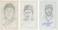 "Baseball Collectibles:Others, Chicago Cubs Stars Signed Original Artwork Lot of 3 from ""RaittCollection""...."