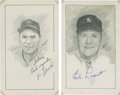"Baseball Collectibles:Others, New York Yankees Stars Signed Original Artwork Lot of 2 from ""RaittCollection""...."